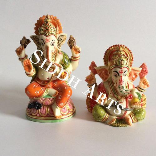 Marble Hand Painted Ganesha Idol