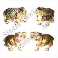 Hand Carved and Painted Marble Elephant