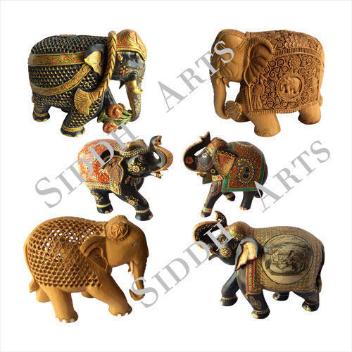 Hand Painted & Carved Wooden Elephants