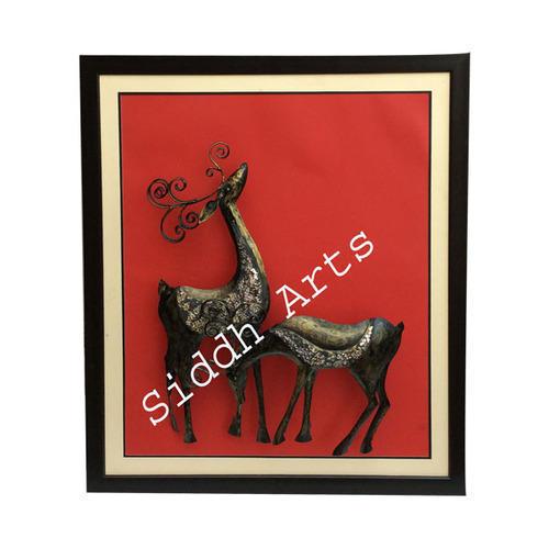 Metal Deer Design Framed Wall Decor