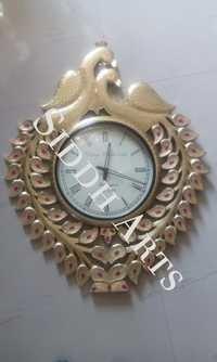 Brass Fitted Fine Work Peacock Design Clock