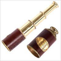 Nautical Brass Telescope In Leather