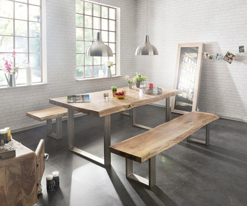 Industrial Live Edge Dining and Bench