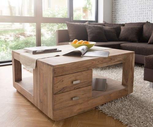 Wooden Coffee Table with Drawers