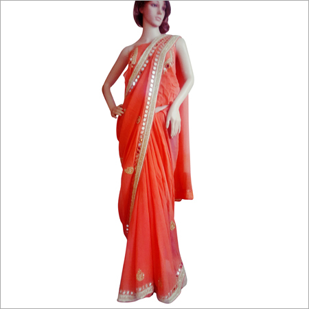 Heavy Mirror Work Saree