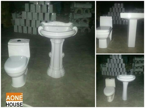 Wash Basin Pedestal With One Piece Toilet