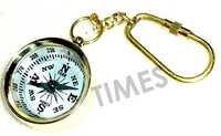 Miniature Compass White Keyring