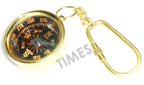 Miniature Compass Black Keyring