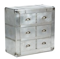 Vinatge  Aviation Finish  3 Drawer Chest Of Drawers