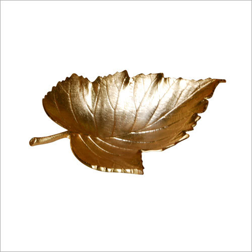 Leaf Tray With Gold Finished Made Of Alumuniume