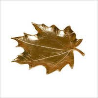 Leaf Tray With Gold Finished Made Of Alumuniume.