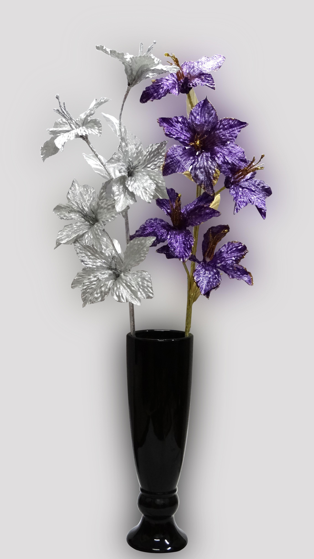 Artificial Glitter Lilly Flower Stem 5x1