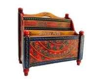 Wooden Fine Embossed Multicolored Magazine Holder Book Holder Newspaper Holder