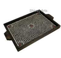 Wooden & White Metal Serving Decorative Tray