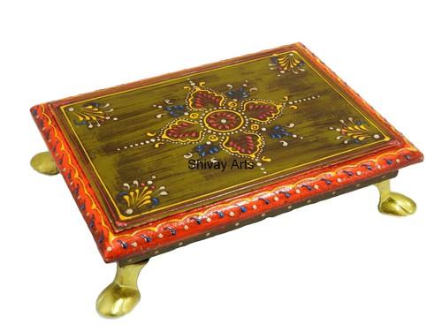 Wooden Multicolor Fine Emboss Painted Pooja Chowki Bajot