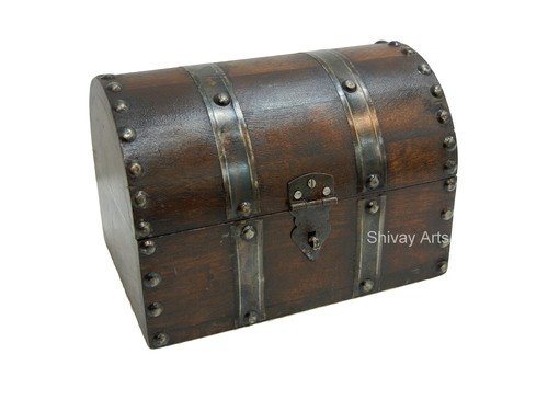 Wooden & Iron Half Round Trunk Box Organizer