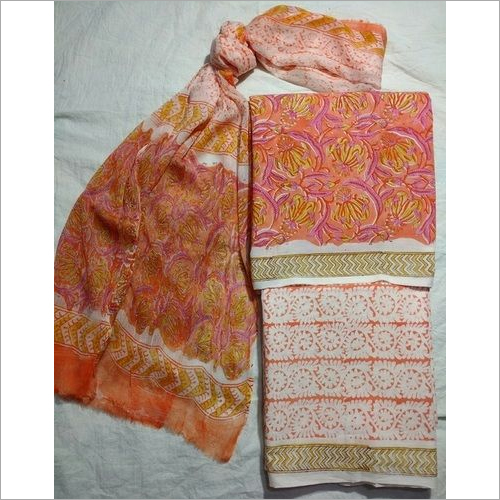 Printed Cotton Suit with chiffon Dupatta