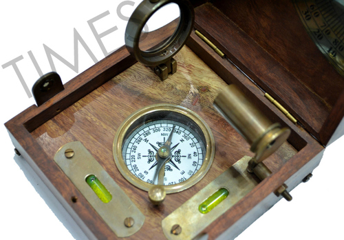Antique Nautical Compass with Wooden Case