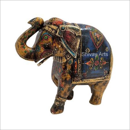 Wooden Multicolor Fine Emboss Elephant Showpiece Figurine Statue
