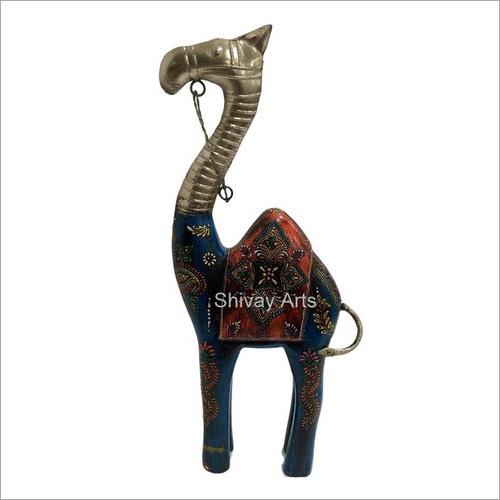 Wooden & Iron Multicolor Fine Emboss Camel Showpiece Figurine Statue 7 x 2 x 15''