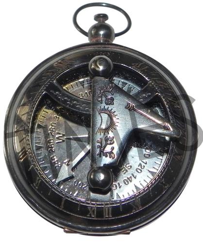 Antique Black Sundial Pocket  Compass