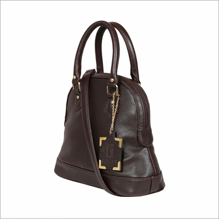 Brown Ladies Leather Zipper Handbags