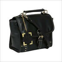 Black Synthetic Leather Side Bags