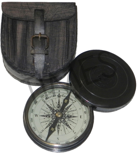 Nautical Compass With Leather Case