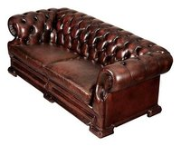 Chesterfield Rolled Arms & Back Leather Sofa