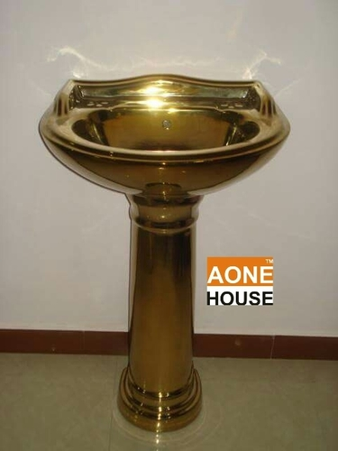 Decorative Gold Plated Wash Basin Pedestal