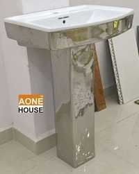 Decorative Silver Plated Wash Basin Pedestal