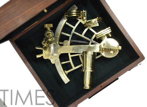 Nautical Sextant With Wooden Box