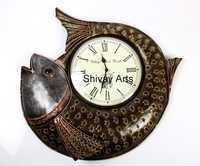 Beautiful Handcrafted Metal Wrought Iron Fish Wall Clock Wall Hanging Wall Decor