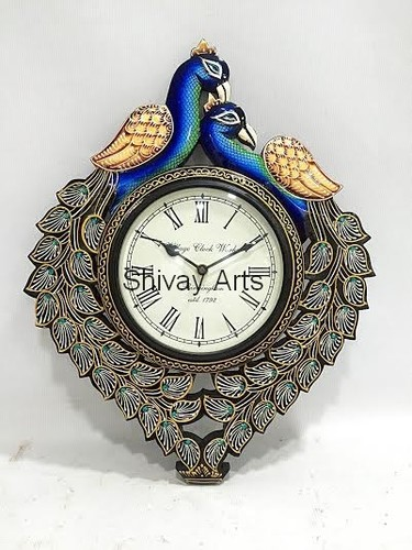 Wooden Beautiful Handcrafted Peacock Wall Clock/Decor/Hanging
