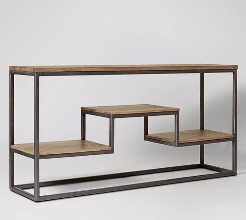 Vintage Industrial Console Table With 3 Shelves