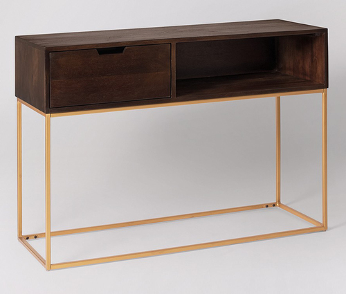 Modern Side Table With Gold Plated Leg