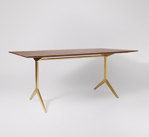 Wooden Top With Brass Leg Dining Table