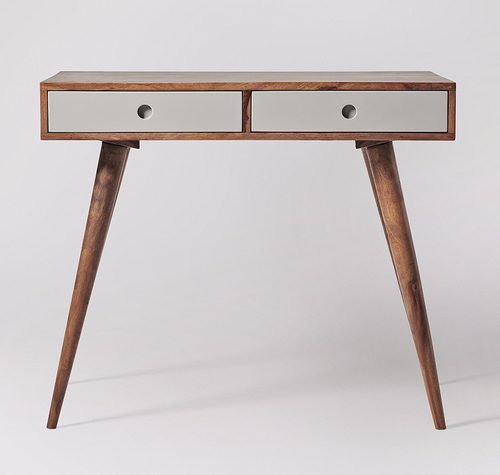 Wooden Side Table with 2 Drawers