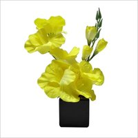 Yellow Gladiolus Artificial Bonsai Plant