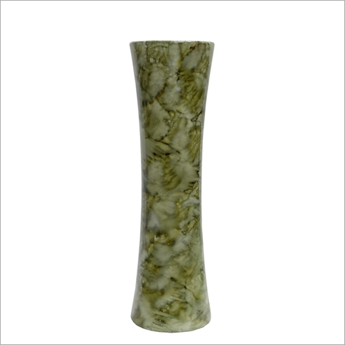 Artificial MDF Vase in Glossy Green Marble Finish