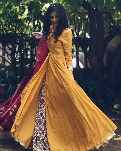 INDO WESTERN YELLOW & PRINT GOWN