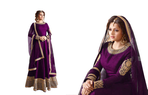 fancy desaigner tapeta silk anarkali suit