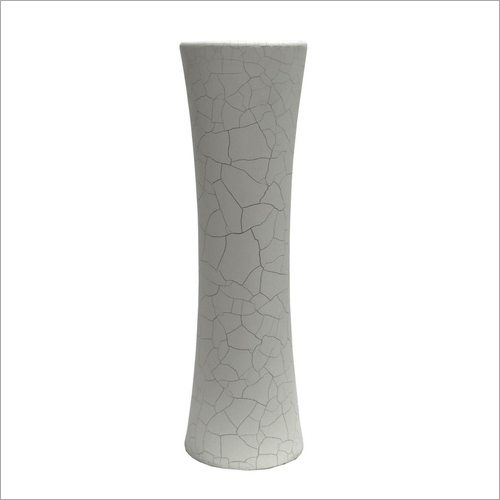 Artificial Mdf Vase In White Crackle Finish