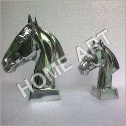 Aluminum Horse Head Sculpture Pair