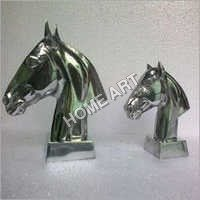 Aluminium Horse Head Sculpture Pair