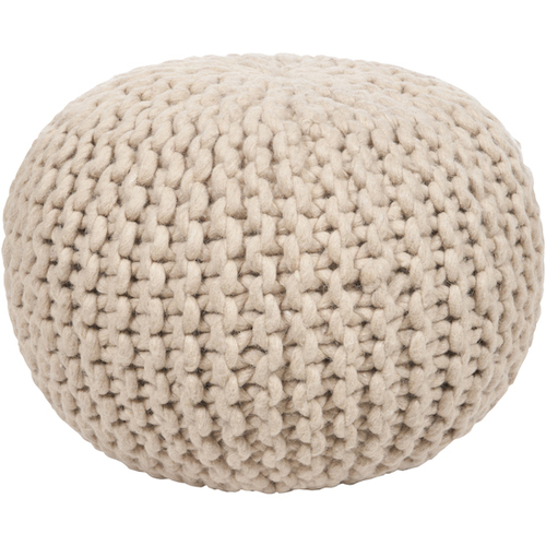 Beige Knitted Cotton Pouf