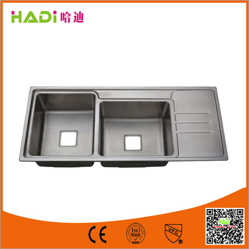 Double Bowl Stainless Steel Sink With Drain Board