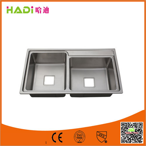 Double Bowl Stainless Steel Sink Without Drain