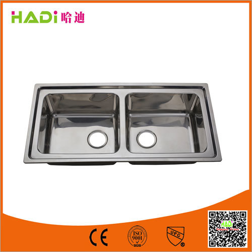 Two Compartment Stainless Steel Sink Without Drain