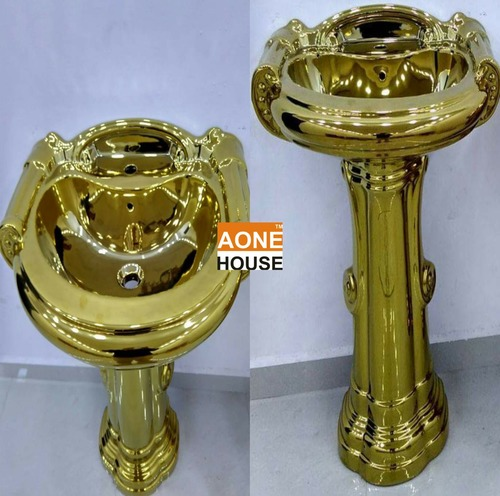 Decorative Gold Plated Wash Basin Pedestal